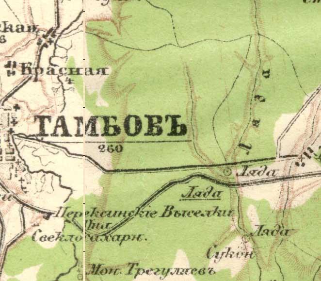 Карта тамбовской губернии 1 дюйм - 1 верста (1 см - 420 м) 1.